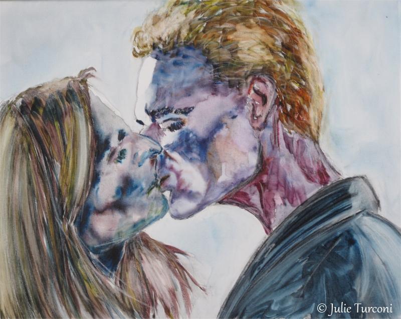 """Le baiser (d'après la série TV """"Buffy the Vampire Slayer), techniques mixtes, 16 x 20 po, 2016, DISPONIBLE"""