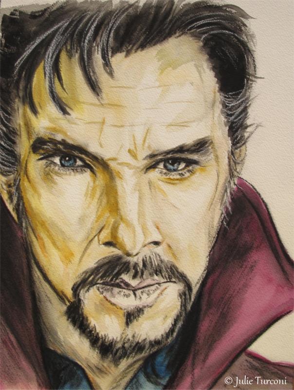 Dr Strange (d'après le personnage joué par Benedict Cumberbatch), aquarelle et fusain, 12 x 16 po, 2016, DISPONIBLE